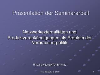 Pr�sentation der Seminararbeit