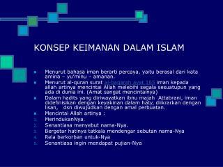 KONSEP KEIMANAN DALAM ISLAM