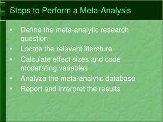 Steps to Perform a Meta-Analysis
