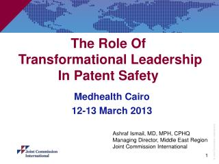 The Role Of  Transformational Leadership    In Patent Safety