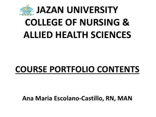 JAZAN UNIVERSITY COLLEGE OF NURSING &  ALLIED HEALTH SCIENCES