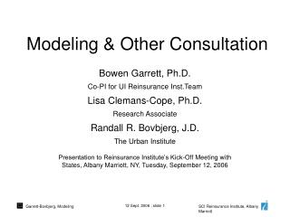 Modeling & Other Consultation