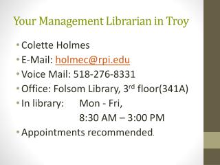 Your Management Librarian in Troy