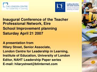 Inaugural Conference of the Teacher Professional Network, Eire School Improvement planning