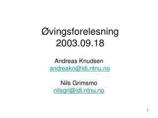Øvingsforelesning 2003.09.18