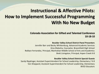 Boulder Valley School District Panel Presenters