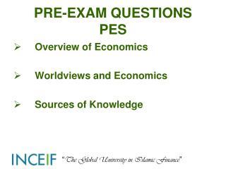 PRE-EXAM QUESTIONS PES