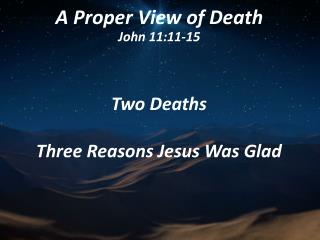 A Proper View of Death John 11:11-15