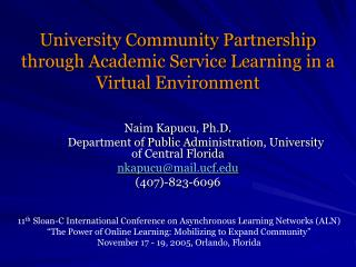 University Community Partnership through Academic Service Learning in a Virtual Environment