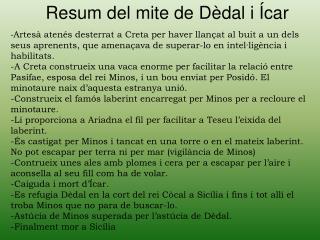 Resum del mite de Dèdal i Ícar