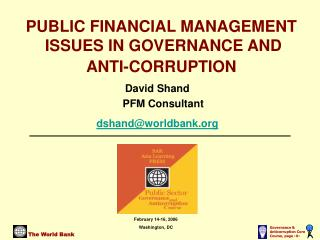 PUBLIC FINANCIAL MANAGEMENT  ISSUES IN GOVERNANCE AND ANTI-CORRUPTION