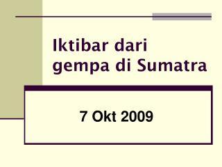 Iktibar dari gempa di Sumatra