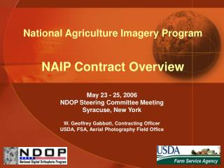 National Agriculture Imagery Program NAIP Contract Overview