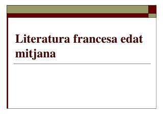 Literatura francesa edat mitjana