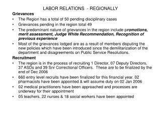 LABOR RELATIONS  - REGIONALLY