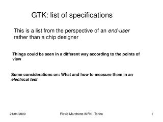 GTK: list of specifications