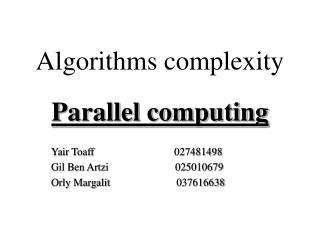 Algorithms complexity