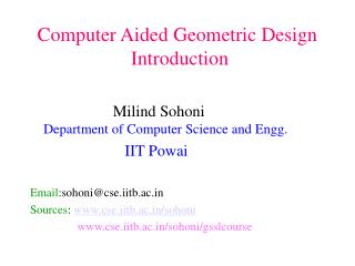 Computer Aided Geometric Design  Introduction