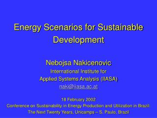 Energy Scenarios for Sustainable Development