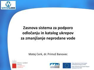 Zasnova sistema za podporo  odločanju in katalog ukrepov  za zmanjšanje  neprodane vode