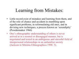 Learning from Mistakes: