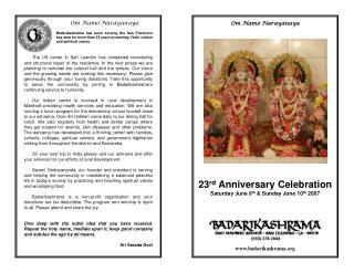 23 rd  Anniversary Celebration Saturday June 9 th  & Sunday June 10 th  2007
