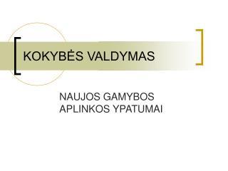 KOKYBĖS VALDYMAS