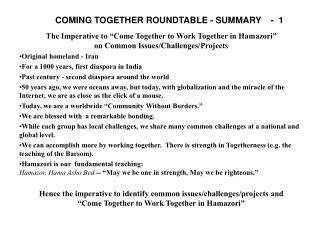 COMING TOGETHER ROUNDTABLE - SUMMARY    -   1