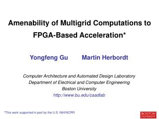 Amenability of Multigrid Computations to FPGA-Based Acceleration*