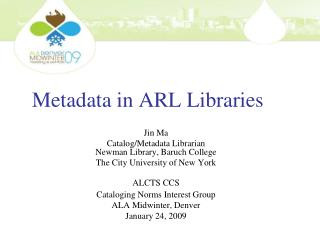 Metadata in ARL Libraries