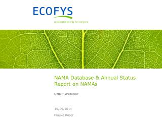 NAMA Database & Annual Status Report on NAMAs