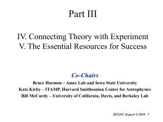 Part III IV. Connecting Theory with Experiment V. The Essential Resources for Success