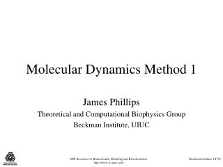 Molecular Dynamics Method 1