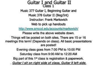 Guitar I and Guitar II