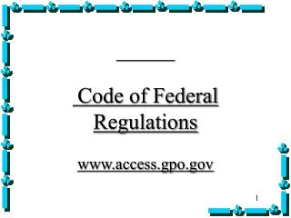 Code of Federal Regulations access.gpo