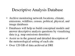 Descriptive Analysis Database