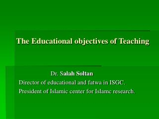 The Educational objectives of Teaching