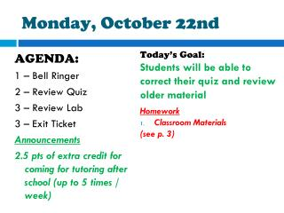 Monday, October  22nd