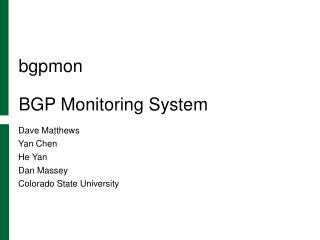 bgpmon BGP Monitoring System