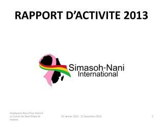 RAPPORT D'ACTIVITE 2013