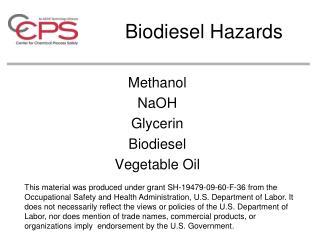Biodiesel Hazards