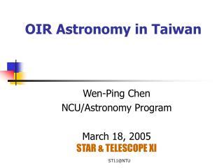 OIR Astronomy in Taiwan