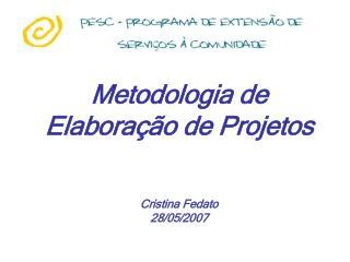 Metodologia de Elabora  o de Projetos   Cristina Fedato 28