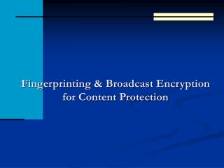 Fingerprinting & Broadcast Encryption for Content Protection