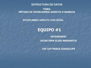 ESTRUCTURA DE DATOS TEMA: M TODO DE INTERCAMBIO DIRECTO O BURBUJA                                                    INT