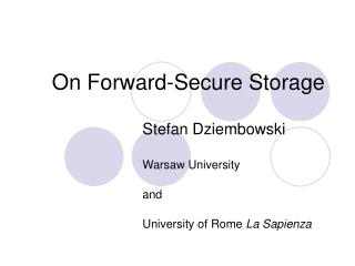 On Forward-Secure Storage