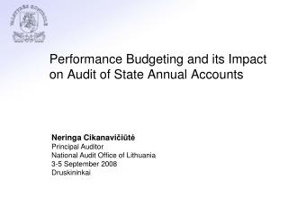 Performance Budgeting and its Impact on Audit of State Annual Accounts