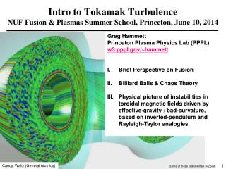 Intro to Tokamak Turbulence NUF Fusion & Plasmas Summer School, Princeton, June 10, 2014