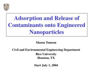 Adsorption and Release of Contaminants onto Engineered Nanoparticles