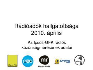 Rádióadók hallgatottsága 2010. április